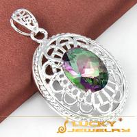new 2014 Best Christmas Gift Romantic Rainbow Fire Mystic Topaz Silver Pendants For Women P0391 Free Chain
