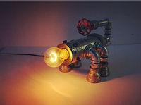 HOT Luxury Antique Vintage Desk Tble Iron Pipe Lamp Light DIY Handmade For Loft Cafe Bar E27 Robot Scorpion fire