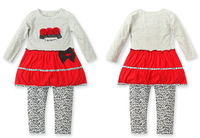 Fashion leopard long-sleeved girls clothing sets Casual cotton girls clothes  Long sleeve new kids  clothes sets