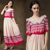 2014 Sale Jacquard Chiffon A-line Dresses Women Dress A New Nail Pearl Exquisite V Collar Dress Sleeve Waist Retro Sleeves Court