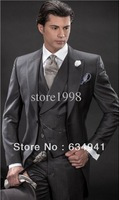 Free shipping/Custom made 2014 New Style Groom Tuxedos Groomsmen Peak Collar Men Wedding Suits(Jacket+Pants+Tie+vest)man suits