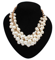 Min.order $10 Mix order New 2014 SPX4634 Fashion choker Chunky bead pearl necklaces (short woman necklace)