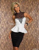 New arrive ladies fashion peplum dress black white chic evening dress embroidery party dresses