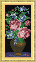The Roses in A Glass Vase Counted Cross Stitch unfinished Cross Stitch DIY Dimension Cross Stitch Kit for Embroidery Needlework