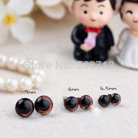 Craft Safety Eyes Amigurumi : 4.5/ 6 /7.5mm 30Pairs brown Colored Safety Eyes / Plastic ...