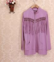 3XL-8XL Plus Size Casual Women Tassel Zipper Cotton Sweatshirt Cardigan Tunic Lady Outwear Big Size XXXXL 2014 New Autumn Fall