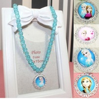 Wholesale Frozen Necklace Children Girls Necklace 2014 Popular Elsa Anna Necklace for Baby Girls Kids Party Necklace 12pcs/lot