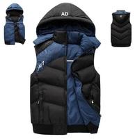 2014 Winter/fall man's sports vests,famous brand man down vest, new fashion man cotton waistcoat,male sleeveless jacket & puppet