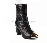 2014 New Famous Brand Designer Women Shoes Fashion Genuine Leather Mid-Calf Boots Zip Women High Heel Shoes Hot Sale 2 Colors