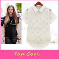 LA138 2014 Summer sweet Blouses Women's lady floral short Shirts women clothes