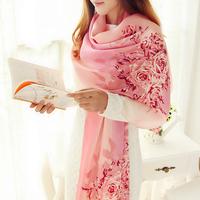 Regal parent 2014 spring and autumn mulberry silk sweet women's silk print silk scarf yarn
