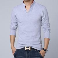 Top selling fashion v-neck men long sleeve t shirts 5 colors Size M L XL XXL 3XL Free Shipping AT02