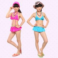 Children female swimsuit / / cuhk child girls bathing suit / / South Korea cute skirt bikini swimsuit of the girls