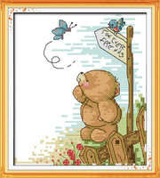 Andrew Bear and Butterfly Counted Cross Stitch Unfinished Cross Stitch DIY Dimension Cross Stitch Kits for Embroidery Needlework