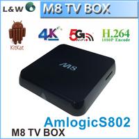 1pcs/lot M8 Amlogic S802 Quad core Android TV Box Dual Band Wi-Fi  8 GB NAND FLASH Smart box Free Shipping