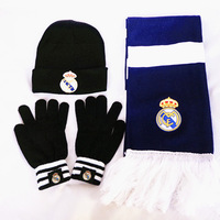NEW!!!Winter Real Madrid Soccer Fans Souvenir 3PCS/Set  Enthusiasts: hat + scarf + gloves,Football Accessories,Free Shipping
