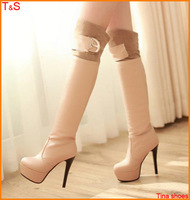 Large size 40 41 42 43 women sexy  high heel boots over the knee boots with sequined waterproof platform fashion boots 7A0-6
