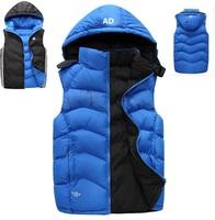 Wholesale price 2014 famous brand down vest, thick men's sleeveless coats,winter/autumn sports waistcoat,hooded double size vest