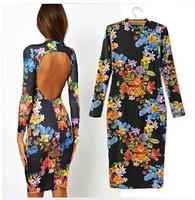 Women's Fashion autumn sexy vintage multicolour print big racerback long-sleeve slim one-piece dressB1407