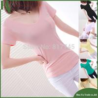 P002 Free Shipping European And American 2013 Summer Short Sleeve Pockets V Neck T Shirt Women