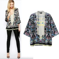 CS6036 European style vintage floral print three quarter cardigan loose casual chiffon brand kimono jacket women