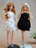 New Arrvial 100% Original handmade Party rose dress for 1/6 barbie Doll Excellent DIY Toy Gift for Girl D030(cloth+lace)