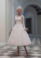 Fashion Lace And Applique Scoop Neck Double Shoulder A-Line Wedding Dresses Long Sleeve Bridal Dresses Tulle Tea Length Button