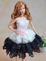 Wholesale 4pcs/lot 100% Original Princess Dress for 1/6 barbie Doll Excellent DIY Toy Accessories Gift for Girl D033(cloth+lace)