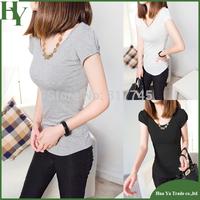 P008 Free Shipping Fashion 2014 Summer O Neck Short Puff Sleeve Women T Shirt