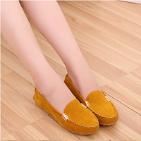 2014 Spring And Autumn Single Shoes Soft Leather Casual Moccasins Female Flat Heel Round Toe Flat Scrub Plus Size Women's Shoes