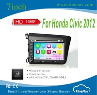 A9 Wince 6.0 Car DVD Player For Honda CIVIC 2012 With Touch Screen iPod BT Built-in WiFi Support DVR IBOD2 With Map