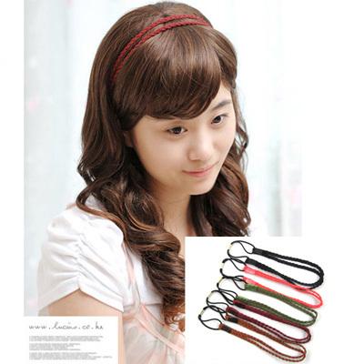 girl headband velvet double layer ribbon twisted knitted headband hair bands(China (Mainland))