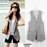 Fashion Plus Size Korean Slim Body OL Vest Women Handsome Cardigans Black and Grey S-4XL