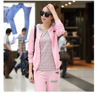 2014 Korean version new leisure suit hooded sweater fashion three-piece suit sportswear Spring and Autumn set women
