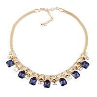 2014 new design fashion jewelry chunky popular style  imitation blue gemstone pendant women metal chain necklace
