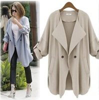New 2014Autumn High Street Women Fashion Bat Sleeve Loose Trench Coat Long Sleeve, Blue/Khaki Overcoat
