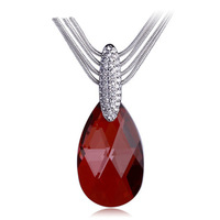 Vintage Style Austrian Red Crystal Pendant Necklace 18K White Gold Plated Women's Charm Jewelry Free Shipping (CN066)