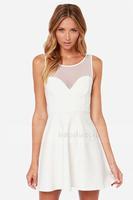 HIGH QUALITY!  white grenadine patchwork A-line women's mini dress girl fashion dress XS-XXL, 141516625