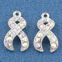 50pcs Silver plated Crystal Rhinestone AB Ribbon Breast Cancer Pendant Beads fit European Bracelet jewelry findings