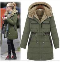 jaquetas femininas 2014 new winter coat women Army green color hooded fur coat thick padded cotton Mid-long down jacket parka