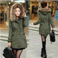 casacos femininos 2014 new winter coat women Army green&Kahki fur hooded add thick padded cotton Mid-long down jacket parka