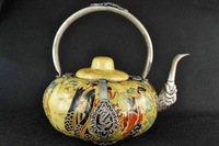 Vintage China porcelain Pumpkin shape teapot belle Painting inlay tibet-silver dragon Gift real Antique 100% Copper Bronze