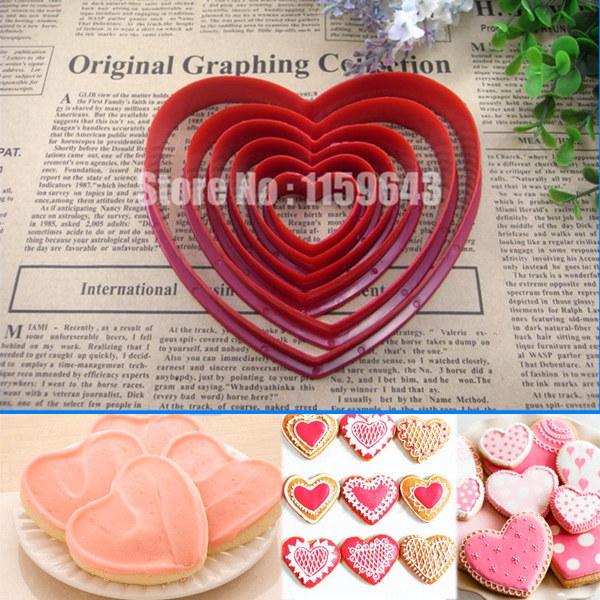 atacado 10 jogos( 1 jogo =6 pcs) em forma de coração cinco amor coração êmbolo fondant sugarcraft bolo cutter molde decoração de bolinho doce(China (Mainland))