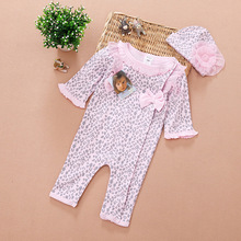 STOCK sale 2014 Autumn New Infant Girls Clothing sets Baby Leopard/Floral Fashion 2pcs set:jumpsuits + Flower hat(China (Mainland))