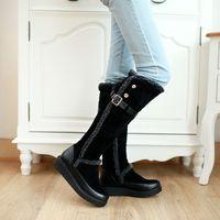 plus size Eur 34-43 fashion belt buckle knee high snow boots winter autumn platform shoes Woman martin women booties SX140033
