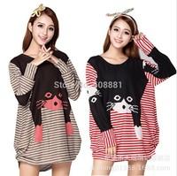 2014 New Winter Long Sleeve Casual Big Plus Size Dress for women Vintage Animal Cat Print Woman Clothing Tunic 3XXXL,4XL,5XL