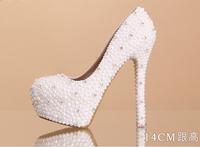 Women Fashion Sweet White Flower Lace Platform High Heels Pearls Wedding Shoes Bride Dress Shoes