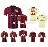 New Top! Best Thai Quality 14/15 AC Milan Soccer Jerseys,AC Milan 2015 shorts KAKA BALOTELLI EL SHAARAWY Football Jersey
