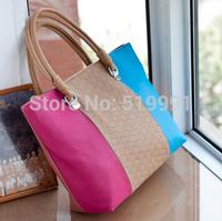 2014 bags women's bag patchwork color block stripe fashionable casual women's  shoulder  handbag large bag