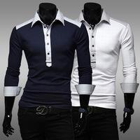 Wholesale Men's New Winter Concise Spell Color Long-sleeved T-shirt Men's shirt, Sports T shirt TX213